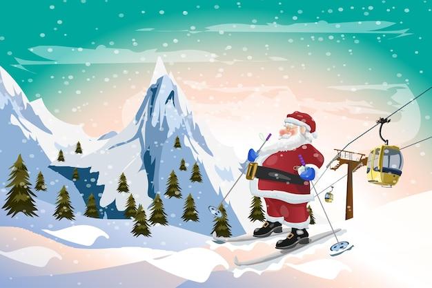 Santa claus skifahren mit gondelbahn winterzeit weihnachten hintergrund vektor-design