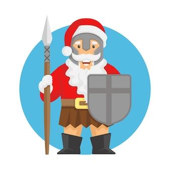 Santa claus spartanischer soldat maskottchen vektor-illustration