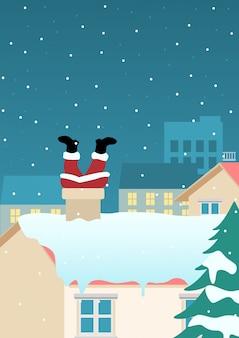 Santa claus steckte am schornstein