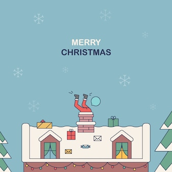 Santa claus steckte in einem schornstein. illustration in einem flachen stil auf einem weihnachtsthema
