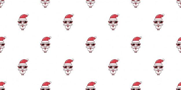 Santa claus stellen tragendes nahtloses muster der sonnenbrille gegenüber