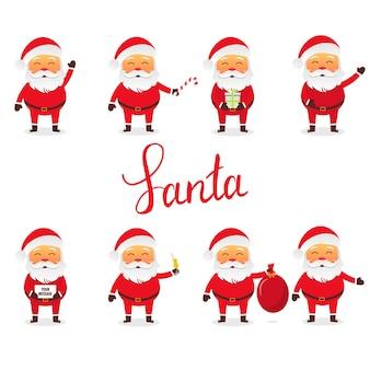 Santa claus stellte in verschiedene haltungen mit einigen gegenständen ein