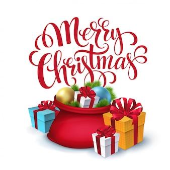 Santa claus-tasche mit den geschenken lokalisiert, grußkarte