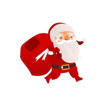 Santa claus-tragetasche mit weihnachtsgeschenken