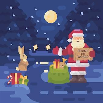 Santa claus trampen auf der straße