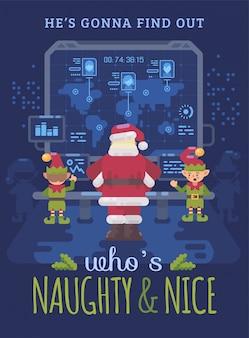 Santa claus und elfen in sankt labor, das karte betrachtet