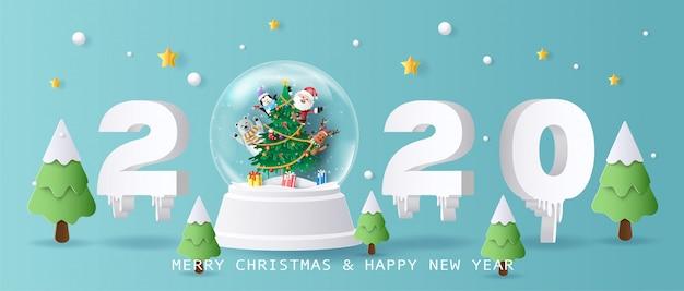 Santa claus und freunde in der weihnachtskugel, in den frohen weihnachten und im guten rutsch ins neue jahr 2020.
