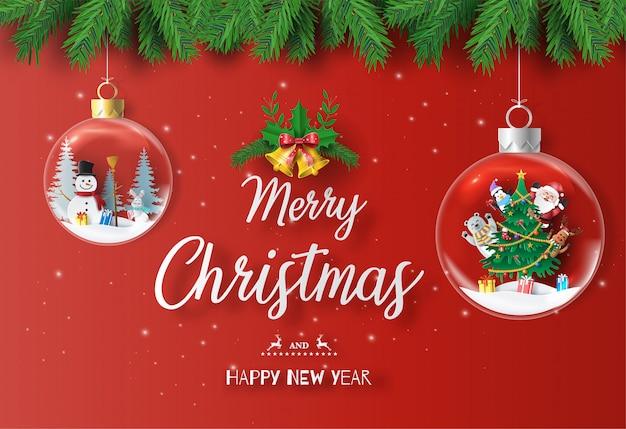 Santa claus und freunde mit weihnachtsbaum in der weihnachtskugel.