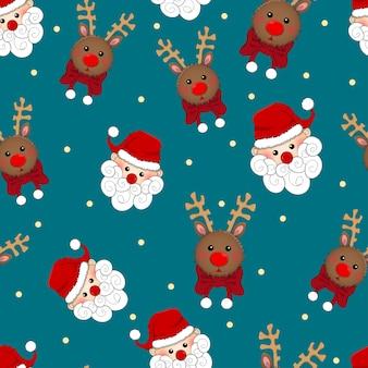 Santa claus und rentiere nahtlos auf blauem hintergrund