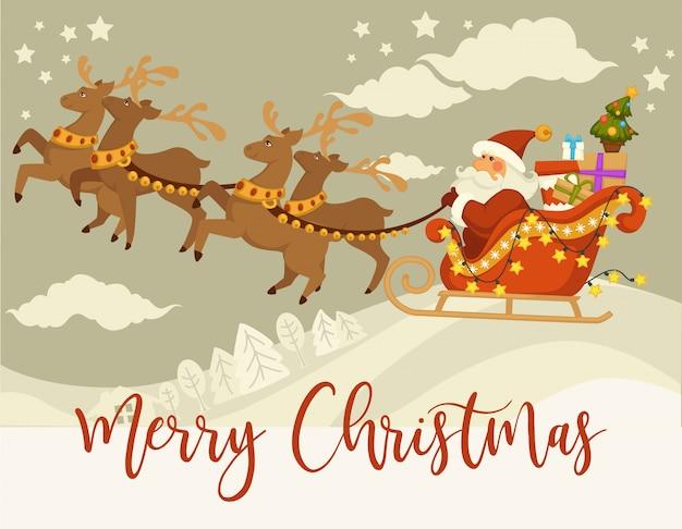 Santa claus und rotwild mit dem pferdeschlitten, der über schneebedeckten wald des winters fliegt