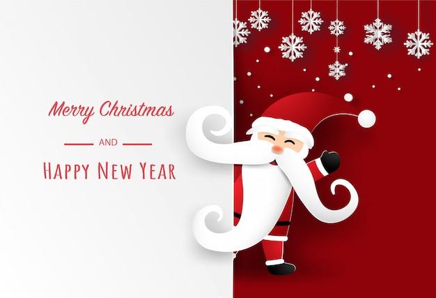 Santa claus und schneeflocke auf rot in der karte der frohen weihnachten. illustrationskunst im papierschnitt.