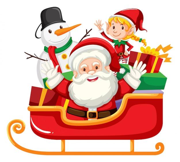 Santa claus und schneemann auf rotem pferdeschlitten