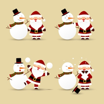 Santa claus und schneemann. vektorabbildung.