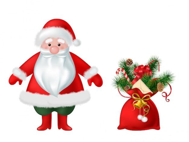 Santa claus und tasche mit süßigkeitsweihnachtsdekorationsillustration