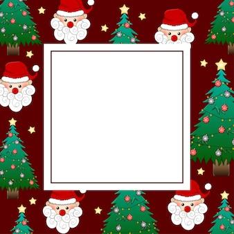 Santa claus und weihnachtsbaum auf roter fahnen-karte