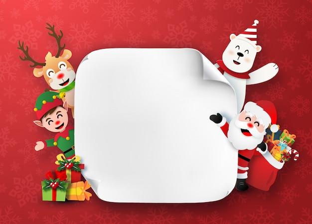 Santa claus- und weihnachtscharaktere mit weißem leerem papier