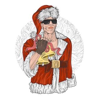 Santa claus wearing aviator sun glasses, griff-bell und zeichnen des bandes in der hand