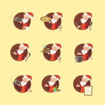 Santa claus-zeichensatz auf gelb