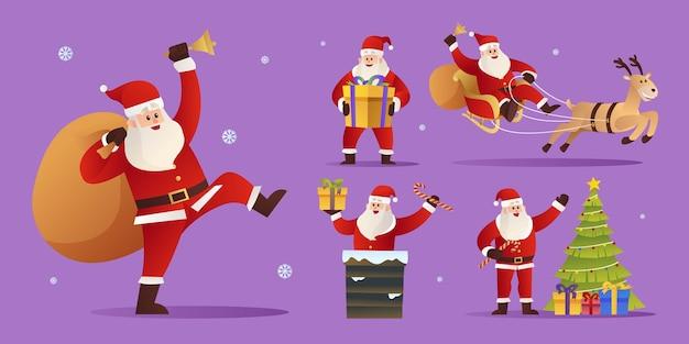 Santa claus zeichensatz illustration
