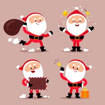 Santa claus zeichensatz mit flachem design