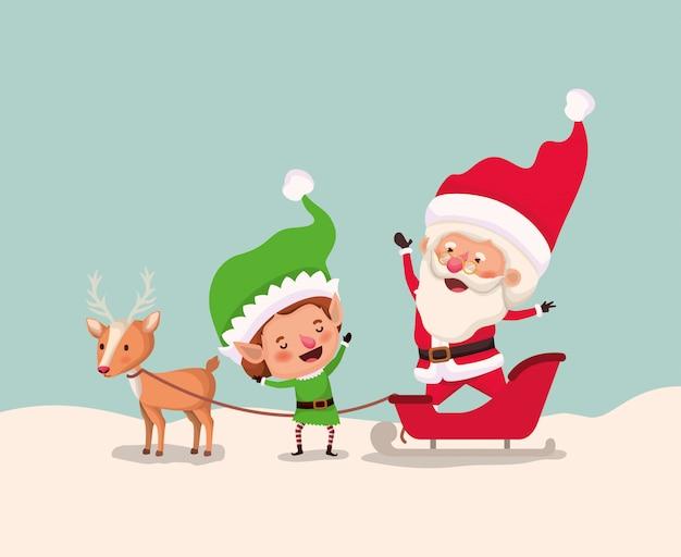 Santa clous und helfer mit schlitten