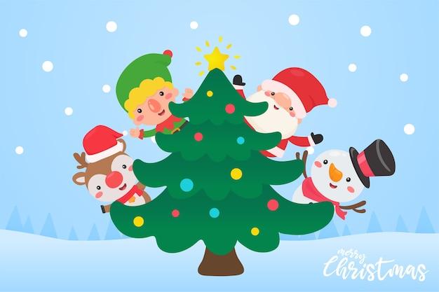 Santa elf, rentier und schneemann schmücken den weihnachtsbaum mit bunten kugeln für den weihnachtstag.