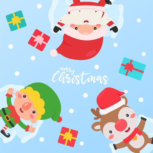 Santa elf und rentier schlafen im schnee mit einer geschenkbox, die den kindern gegeben wird