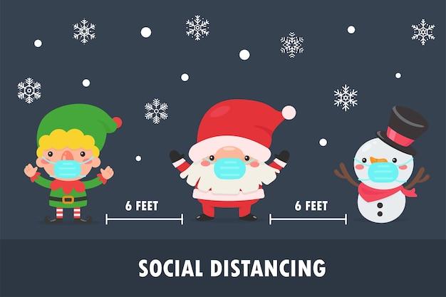 Santa elf und schneemann tragen sie eine maske, um das coronavirus zu weihnachten zu verhindern.
