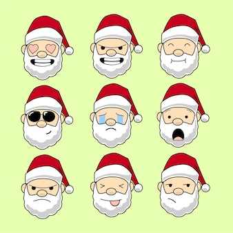 Santa emoticon set