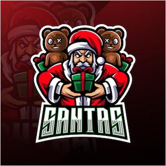 Santa esport maskottchen-logo
