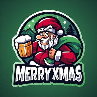 Santa esport maskottchen logo