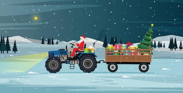 Santa fährt einen traktor, der geschenke und weihnachtsbaum trägt