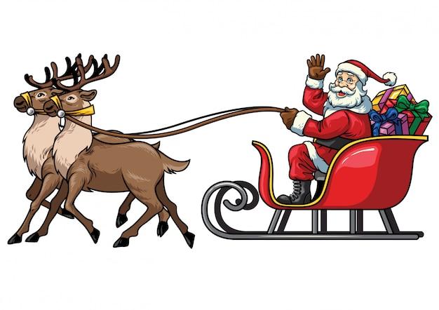 Santa fahrt schlitten w hintergrund