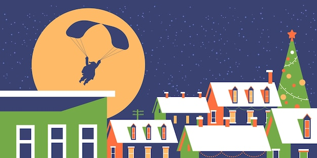 Santa fliegt mit fallschirm im nachthimmel über verschneite dorfhäuser mit schnee auf dächern frohe weihnachten winterferien konzept grußkarte flache horizontale vektor-illustration