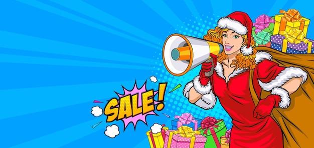 Santa frau und geschenktüte mit megaphon zum verkauf im retro vintage pop art comic style