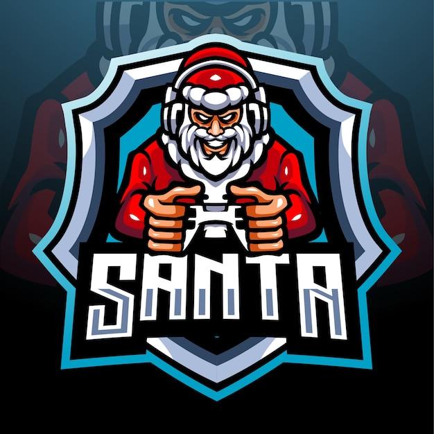 Santa gamer maskottchen. esport logo design