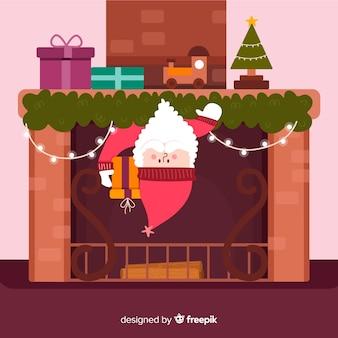 Santa guckt aus dem kamin