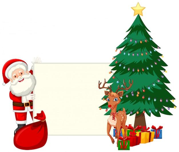 Santa hält ein stück papier