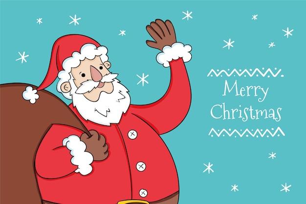 Santa hält eine tüte mit geschenken illustriert