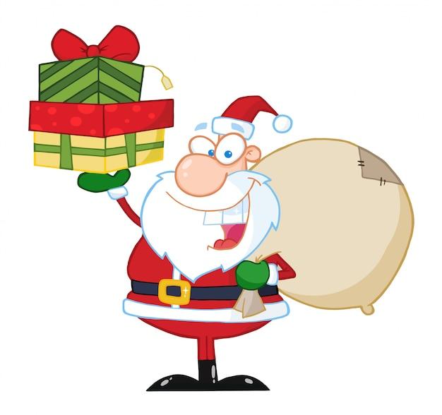 Santa hält einen stapel von geschenken