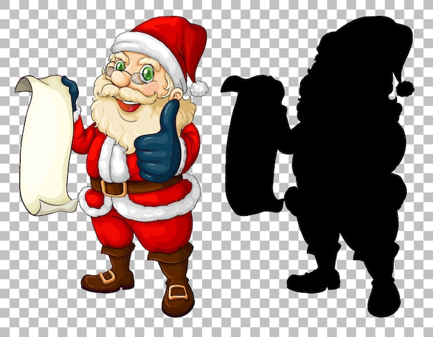 Santa hält schriftrolle und seine silhouette