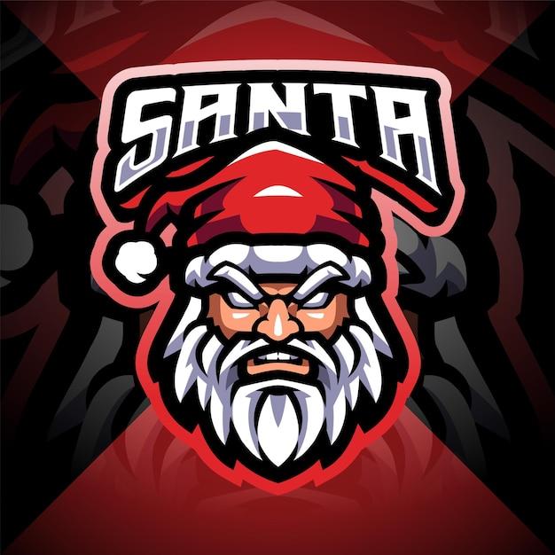 Santa head esport maskottchen logo design