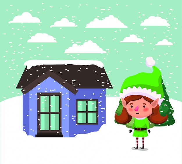 Santa helfer elf mit haus in schneelandschaft