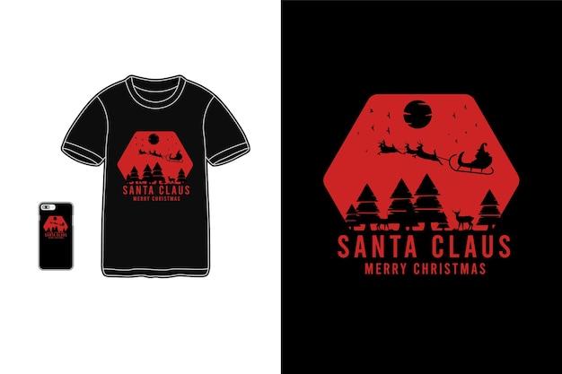 Santa klaustshirt waren silhouette zypressenbaum modell