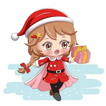 Santa mädchen mit geschenk