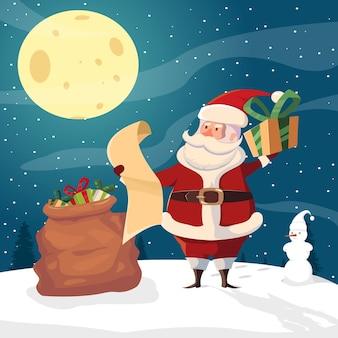 Santa mit geschenk geben liste illustration