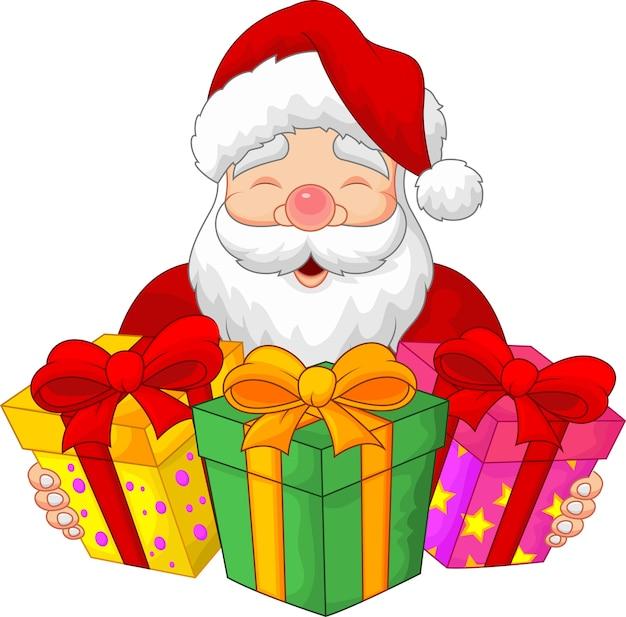 Santa mit weihnachtsgeschenken