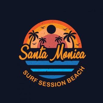 Santa monica beach illustration