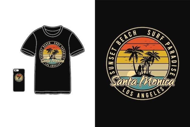 Santa monica typografie auf t-shirt waren und handy
