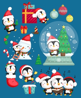 Santa penguin vector set